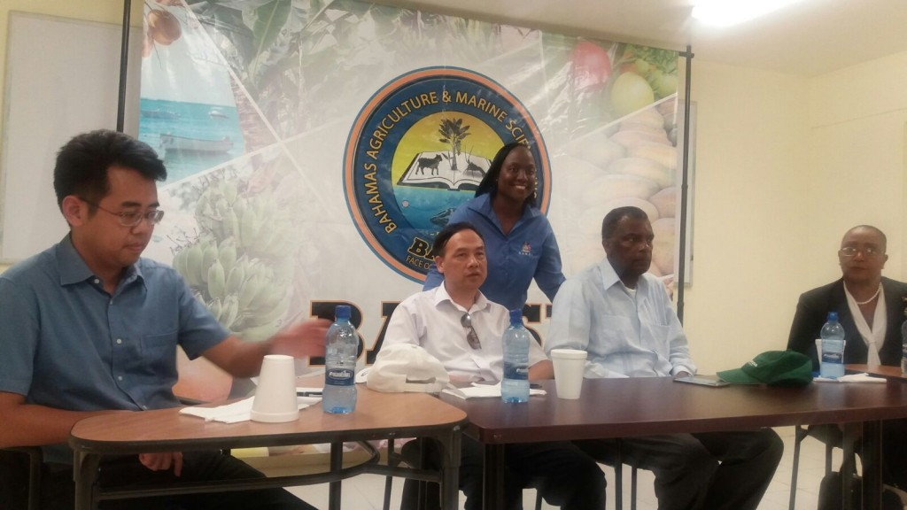 Andros Island, Bahamas -- Dr. Rovenia Hanna who's the Executive Director of the Bahamas Agriculture and Marine Science Institute (BAMSI) is seen pictured center. Left is H.E. Ambassador Huang Qinguo, right: Minister Mitchell alongside Parliamentary Secretary Cleola Hamilton during this morning's speaking engagement with BAMSI staff and recent graduates.