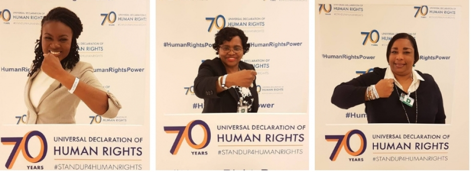 Mrs. Sharon Brennen-Haylock, Mrs. Jennifer Stuart-Bastian and Ms. Sasha Dixon at #HRC39 supporting #HumanRightsPower in commemoration of the 70th anniversary of the Universal Declaration of Human Rights