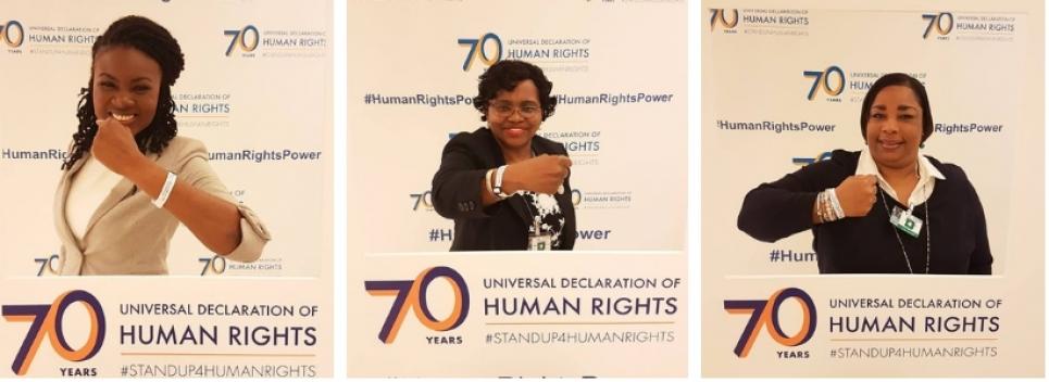 Mrs. Sharon Brennen-Haylock, Mrs. Jennifer Stuart-Bastian and Ms. Sasha Dixon at #HRC39 supporting #HumanRightsPower in commemoration of the 70th anniversary of the Universal Declaration of Human Rights