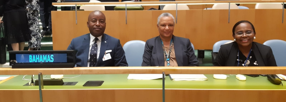 Hon. Darren A. Henfield, Minister of Foreign Affairs, Shelia Carey, Bahamas Permanent Representative to the United Nations, Sharron Brennen-Haylock, Director General of the Ministry of Foreign Affairs attend the United Nations Climate Action Summit