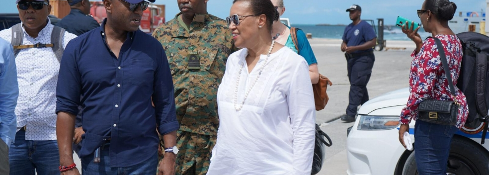 6 October 2019 - Baroness Patricia Scotland, Secretary General of the Commonwealth, in Abaco, being shown the damage caused by Hurricane Dorian by the Honourable Darren Henfield, Minister of Foreign Affairs.